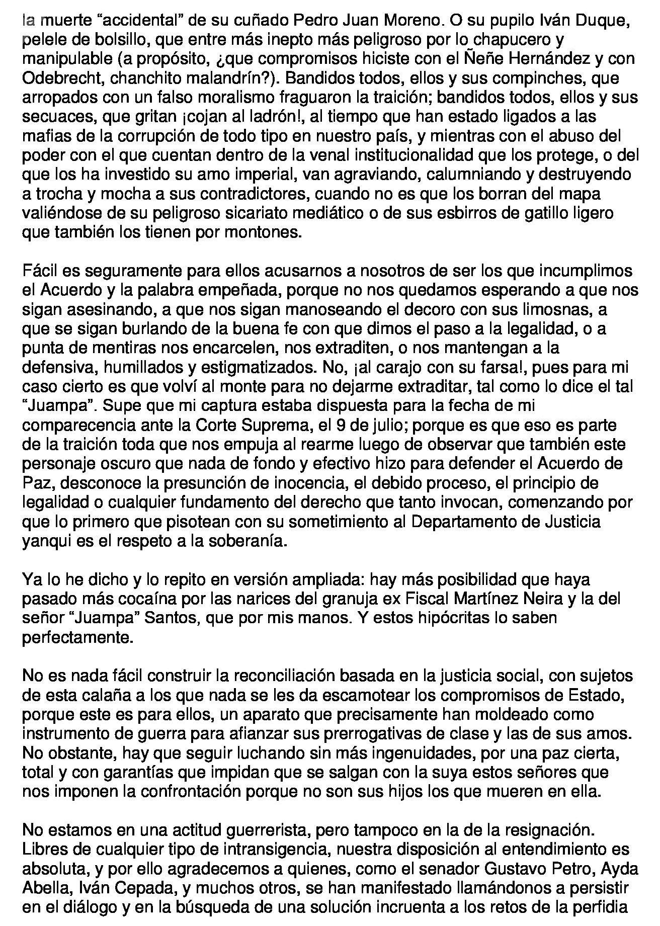 Carta de Jesús Santrich