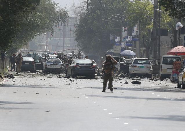 Situación en el lugar del atentado en Kabul, la capital afgana (archivo)