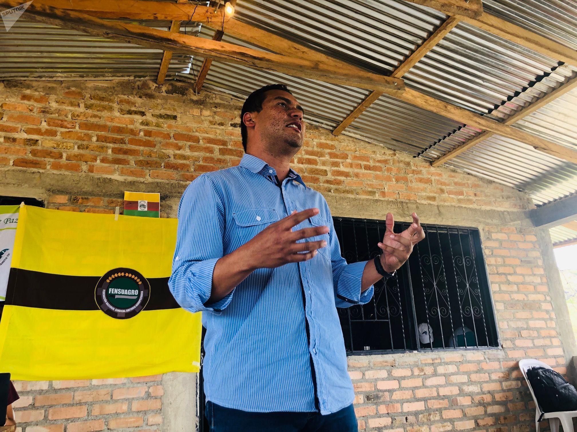 Jonathan Centeno, vocero de la Coordinación del Proceso de Unidad Popular del Suroccidente Colombiano