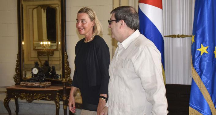 Alta Representante de la UE, Federica Mogherini y el canciller cubano, Bruno Rodríguez Parilla