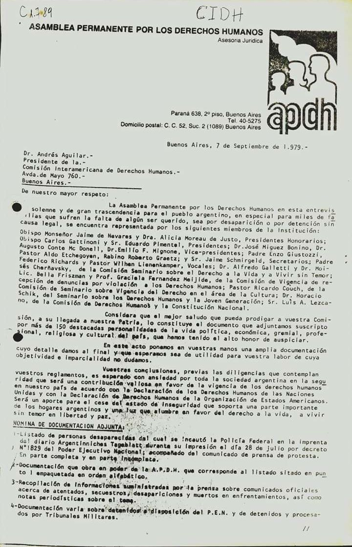 Carta enviada por la Asamblea Permanente de Derechos Humanos a la CIDH en 1979