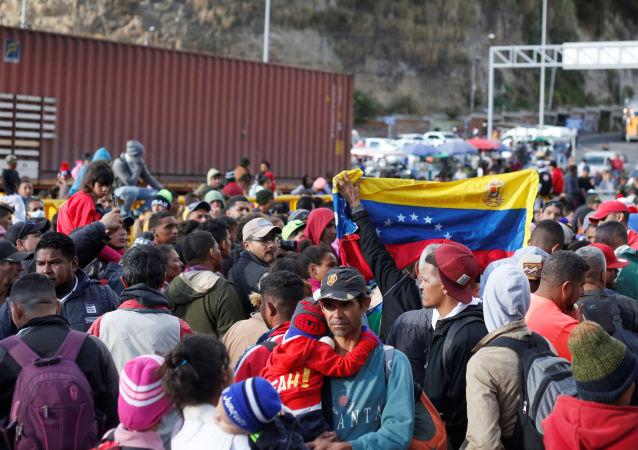 Venezolanos en la frontera de Ecuador