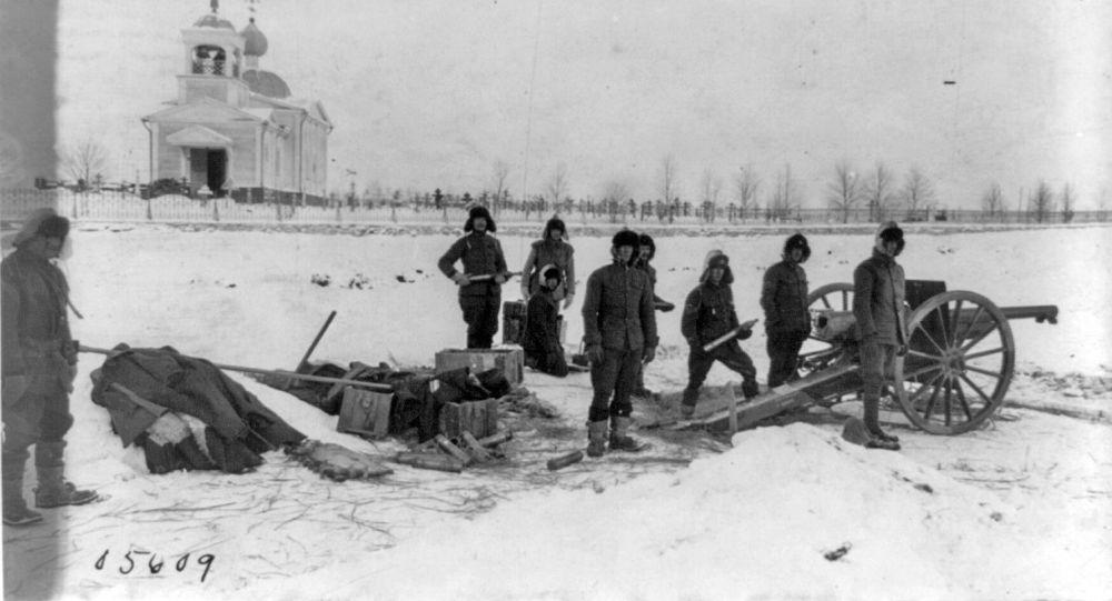 Soldados estadounidenses en el norte de Rusia, 1919