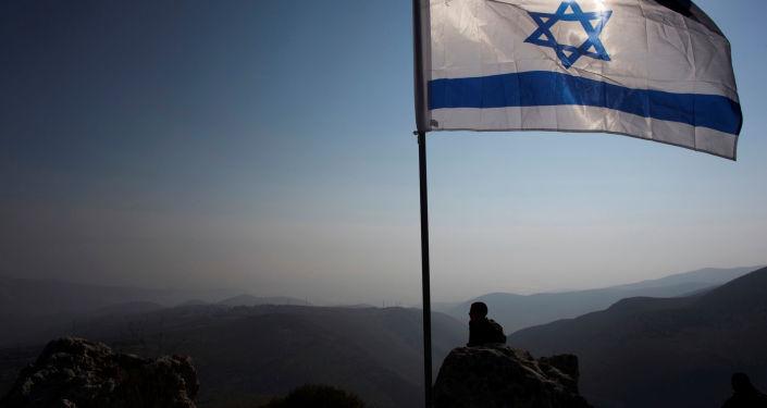 Bandera de Israel cerca del Valle del Jordán