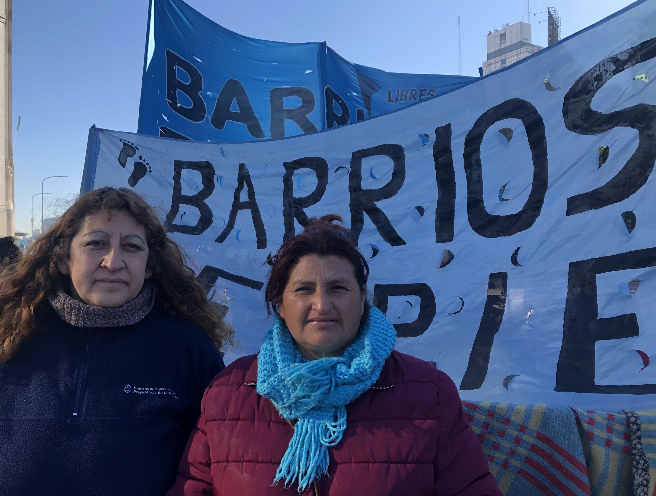 Mirta (izq.) y Sandra (der.), militantes de Barrios de pie - Libres del sur de Florencio Varela