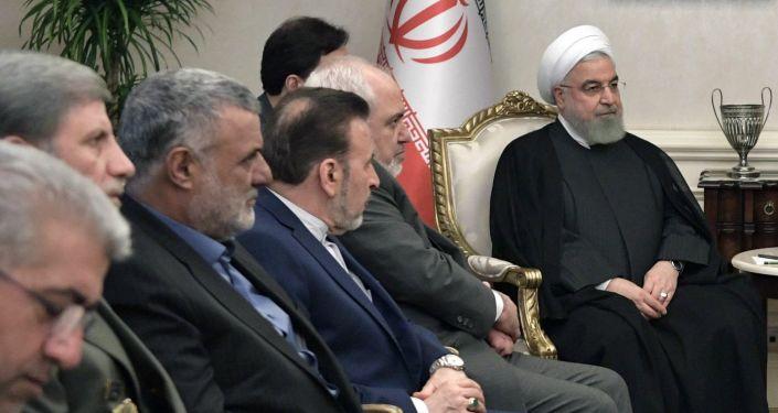 Delegación iraní, presidida por el presidente Hasán Rohaní,  en el encuentro tripartita en Ankara, el 16 de agosto de 2019