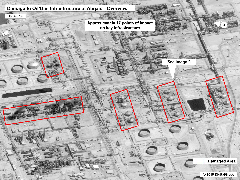 El ataque con drones contra la planta de Abqaiq de Arabia Saudí en Khurais provocó la interrupción de la producción diaria de petróleo de unos 5,7 millones de barriles.