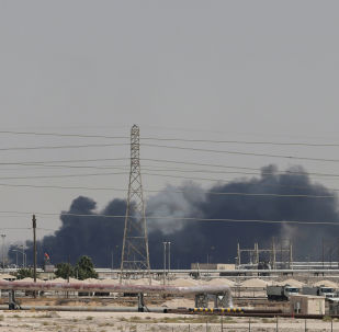 El humo encima de la petrolera Saudi Aramco