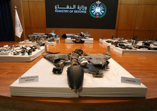 Restos de los misiles con las que supuestamente atacaron las refinerías saudíes