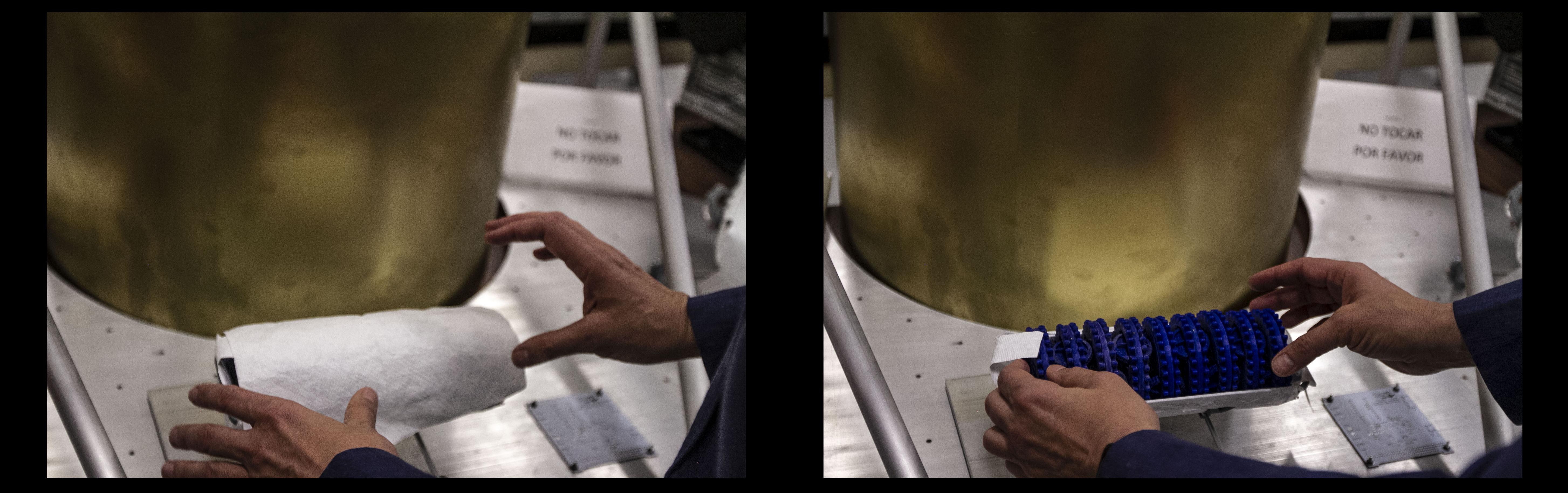 Gustavo Medina, investigador del Instituto de Ciencias Nucleares muestra como viajaran pequeños robots que serán catapultados en la Luna y se encontraran para crear un panel solar