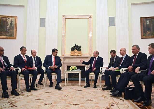 El presidente de Venezuela, Nicolás Maduro, y el presidente de Rusia, Vladímir Putin
