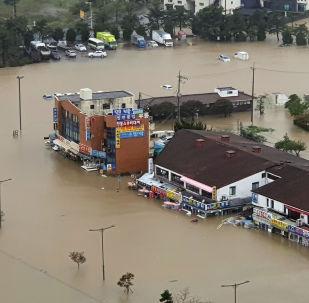 El tifón Mitag en Corea del Sur