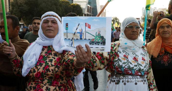 Kurdos sirios protestan contra la ofensiva turca