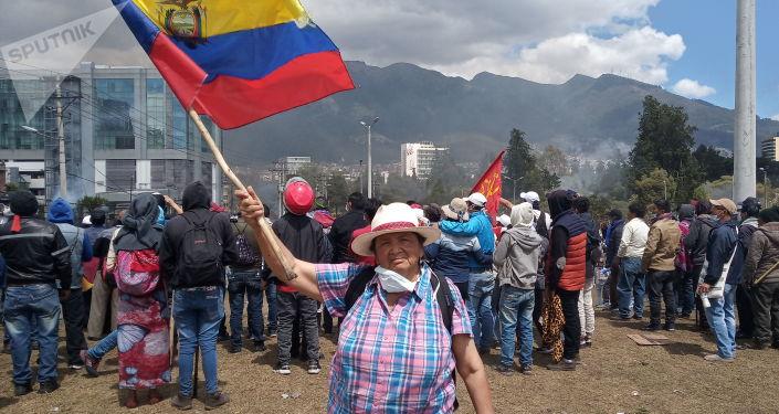 Participante de las protestas en Ecuador