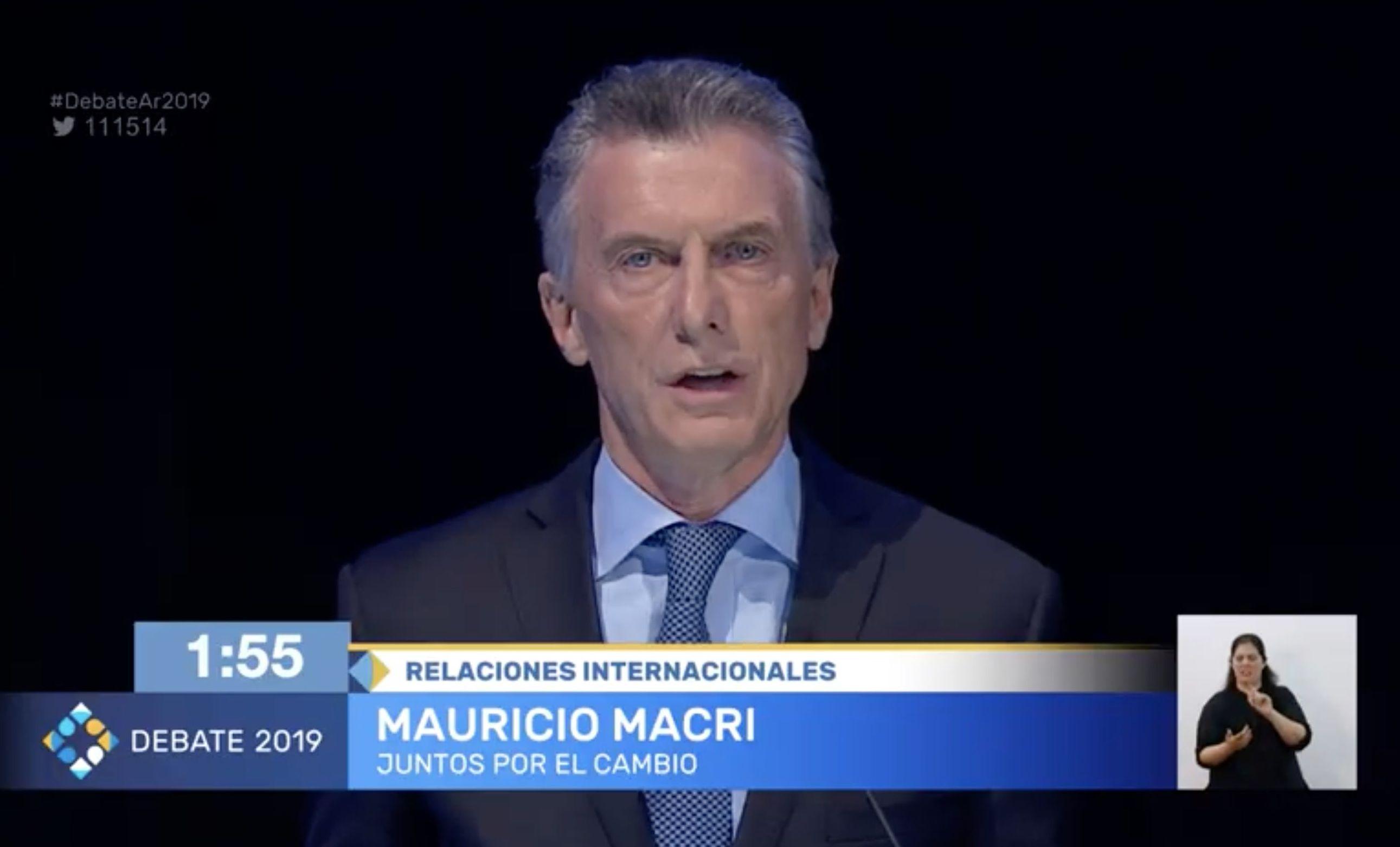 Mauricio Macri, candidato por Juntos por el Cambio, durante el debate