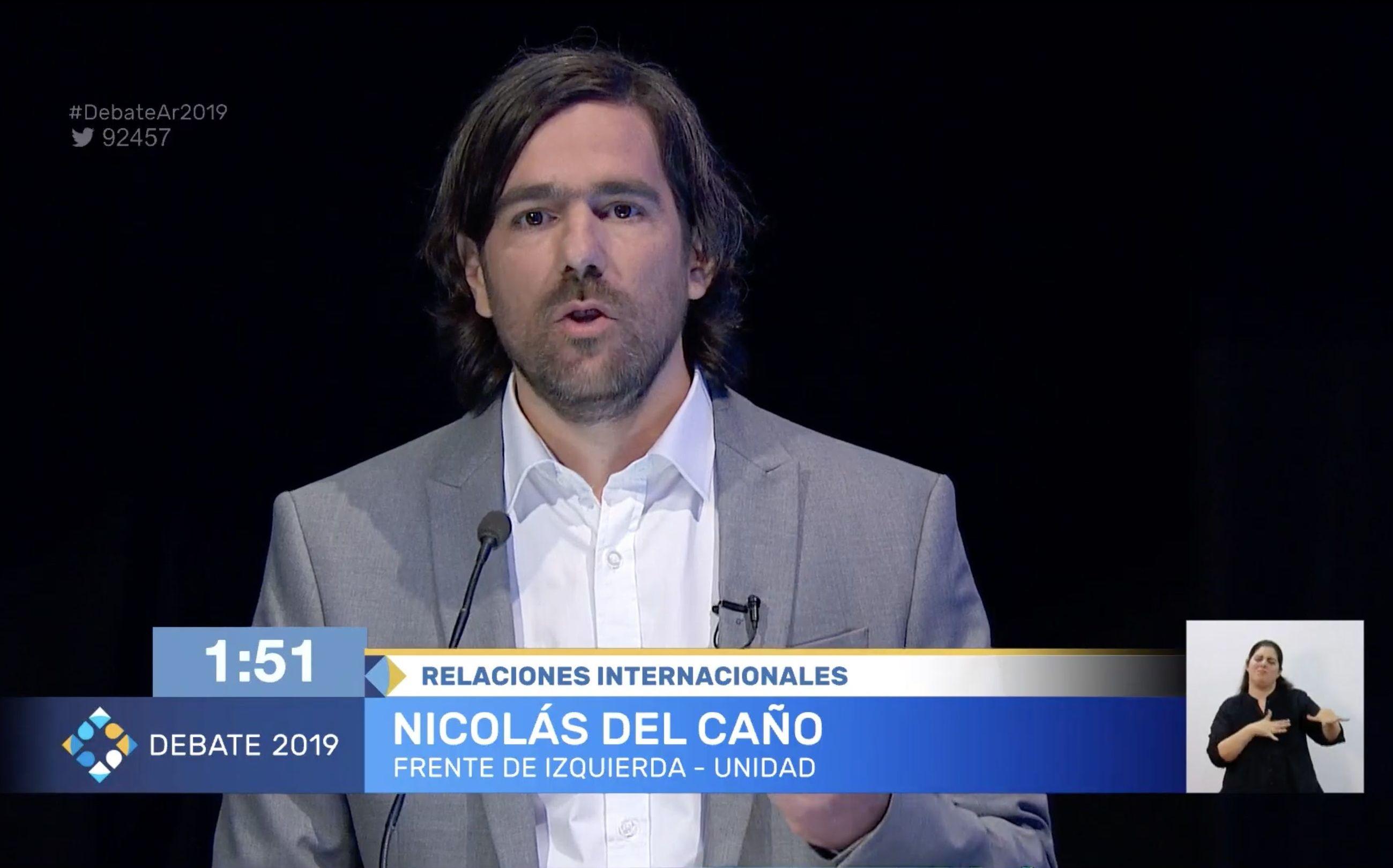 Nicolás del Caño, candidato presidencial por el Frente de Izquierda - Unidad, durante el debate
