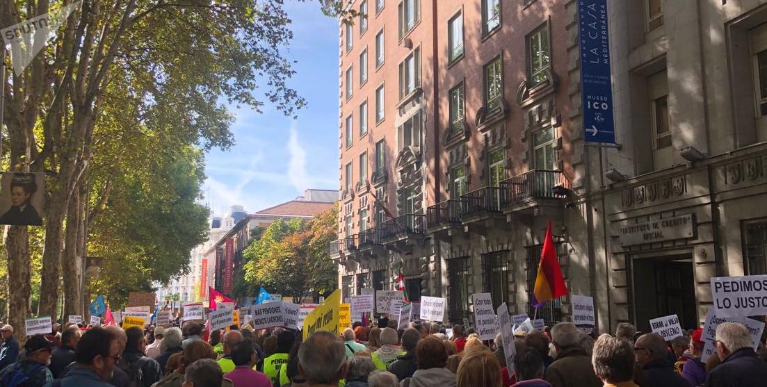 Jubilados protestan en Madrid para reivindicar unas pensiones públicas y dignas