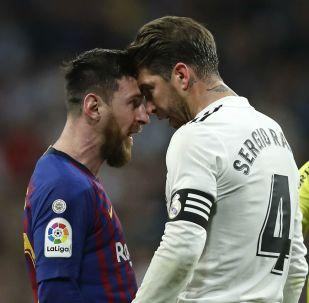Los futbolistas Lionel Messi y Sergio Ramos durante un encuentro del Barcelona y el Real Madrid, 2 de marzo de 2019