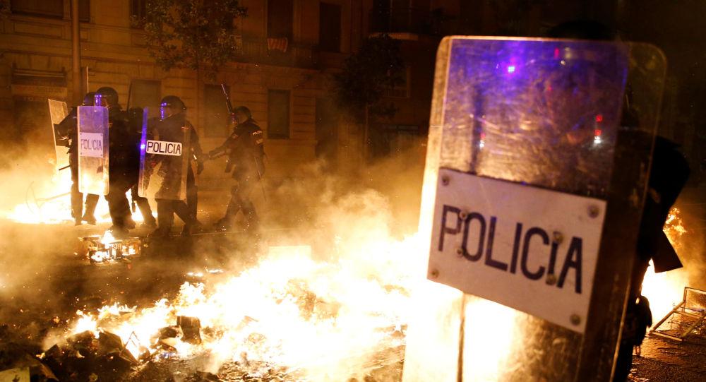 Disturbios en Barcelona, España