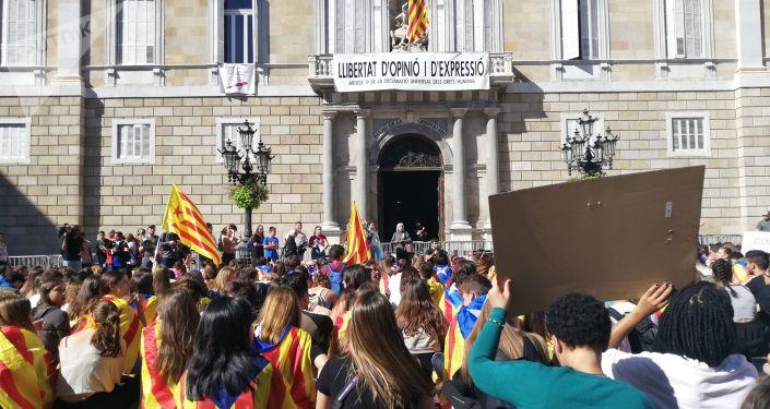 Protesta estudiantil frente a la sede del Gobierno catalán