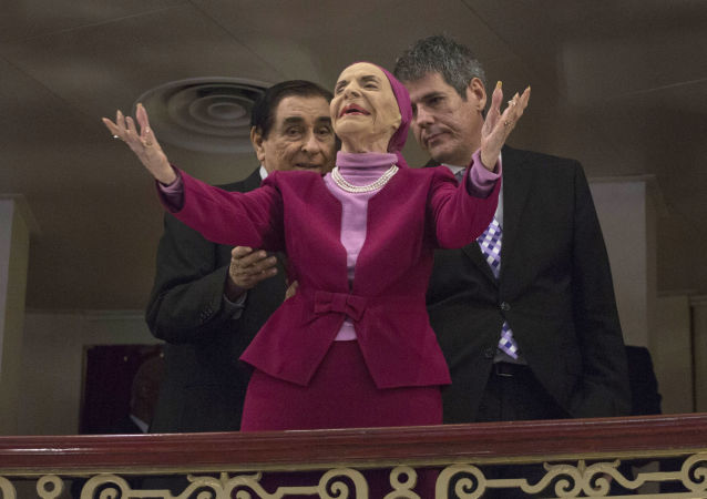 Cuba's Prima Ballerina Alicia Alonso arrives at the Grand Theater of Havana to listen to U.S. President Barack Obama deliver his speech, at the Grand Theater of Havana, Tuesday, March 22, 2016.