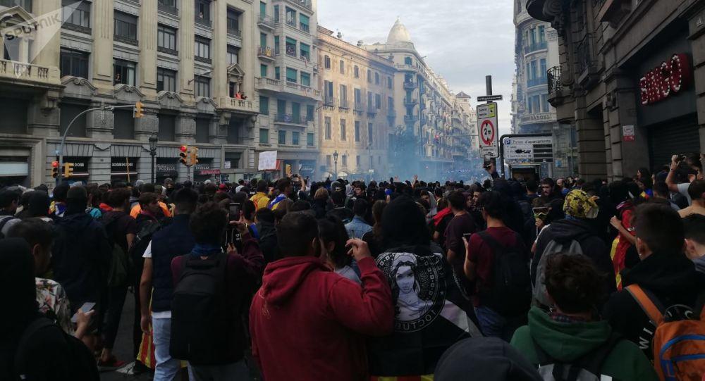 Una manifestación en la zona de la Plaza Urquinaona de Barcelona