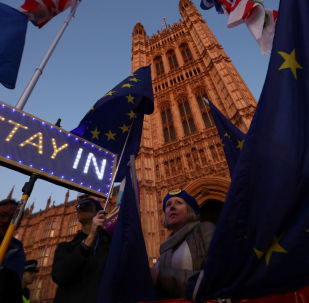 Protestas contra el Brexit cerca del Parlamento británico en el Reino Unido