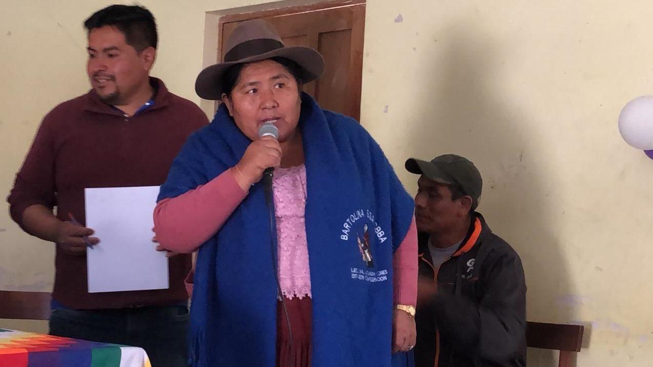 Segundina Flores, secretaria ejecutiva de la Confederación 'Bartolina Sisa' de Bolivia