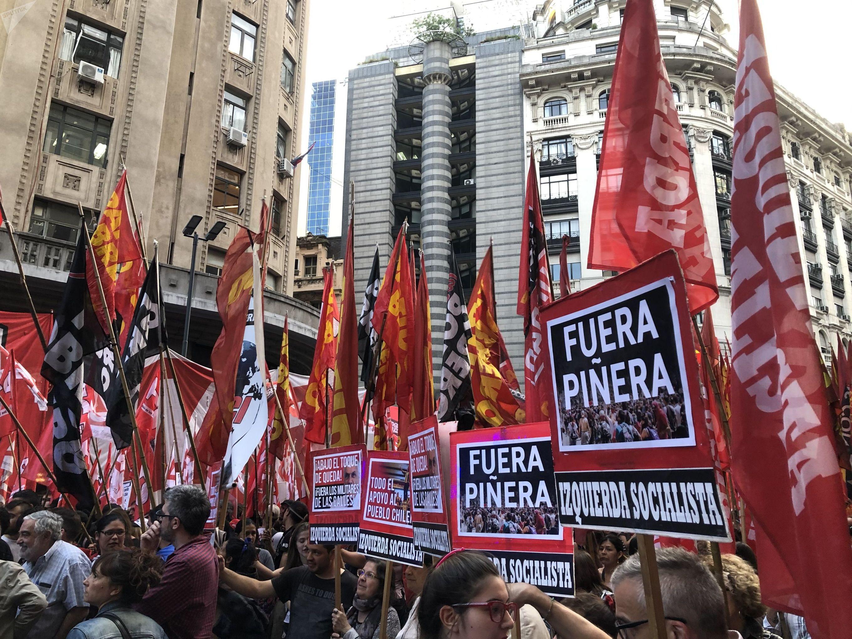 Protesta contra Sebastián Piñera en Chile