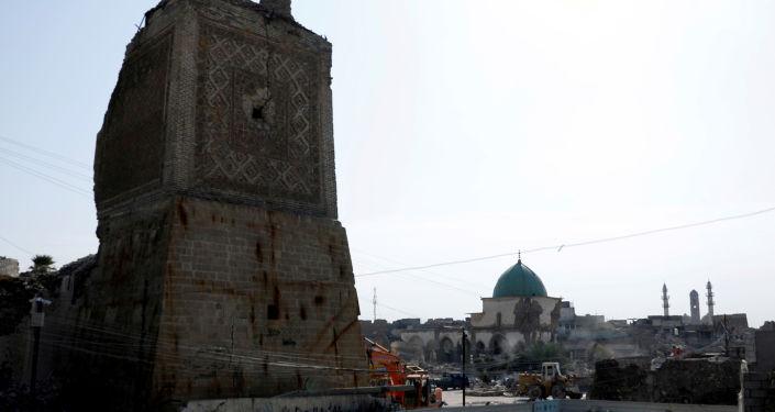 La mezquita al-Nouri en Mosul, Irak, donde Abu Bakr Bagdadi proclamó un califato islámico
