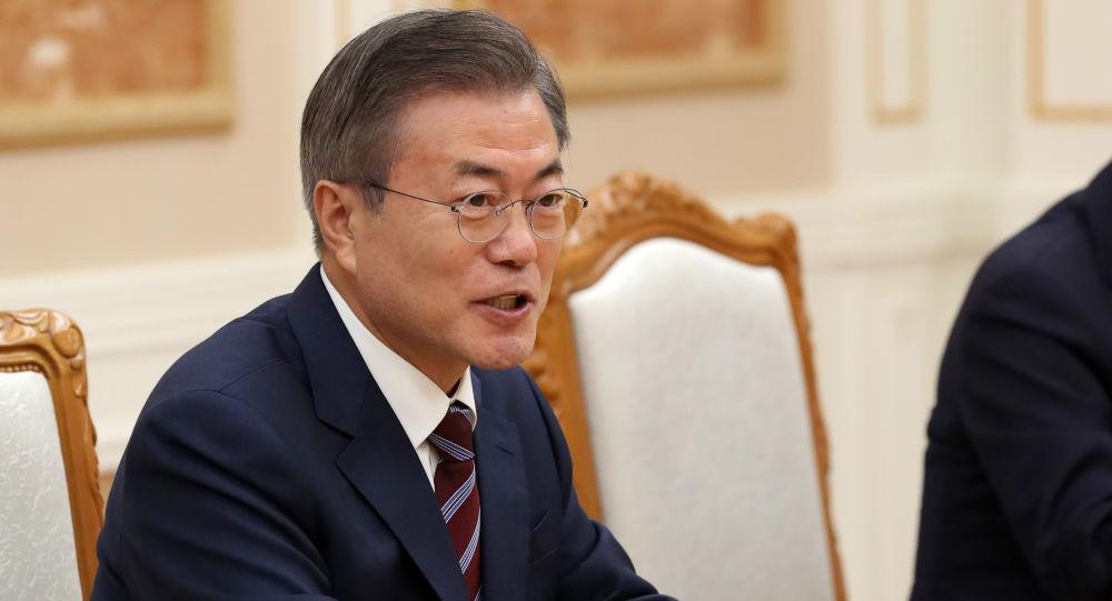 Moon Jae-in, el presidente de Corea del Sur, durante las negociaciones con Kim Jong-un, el líder de Corea del Norte