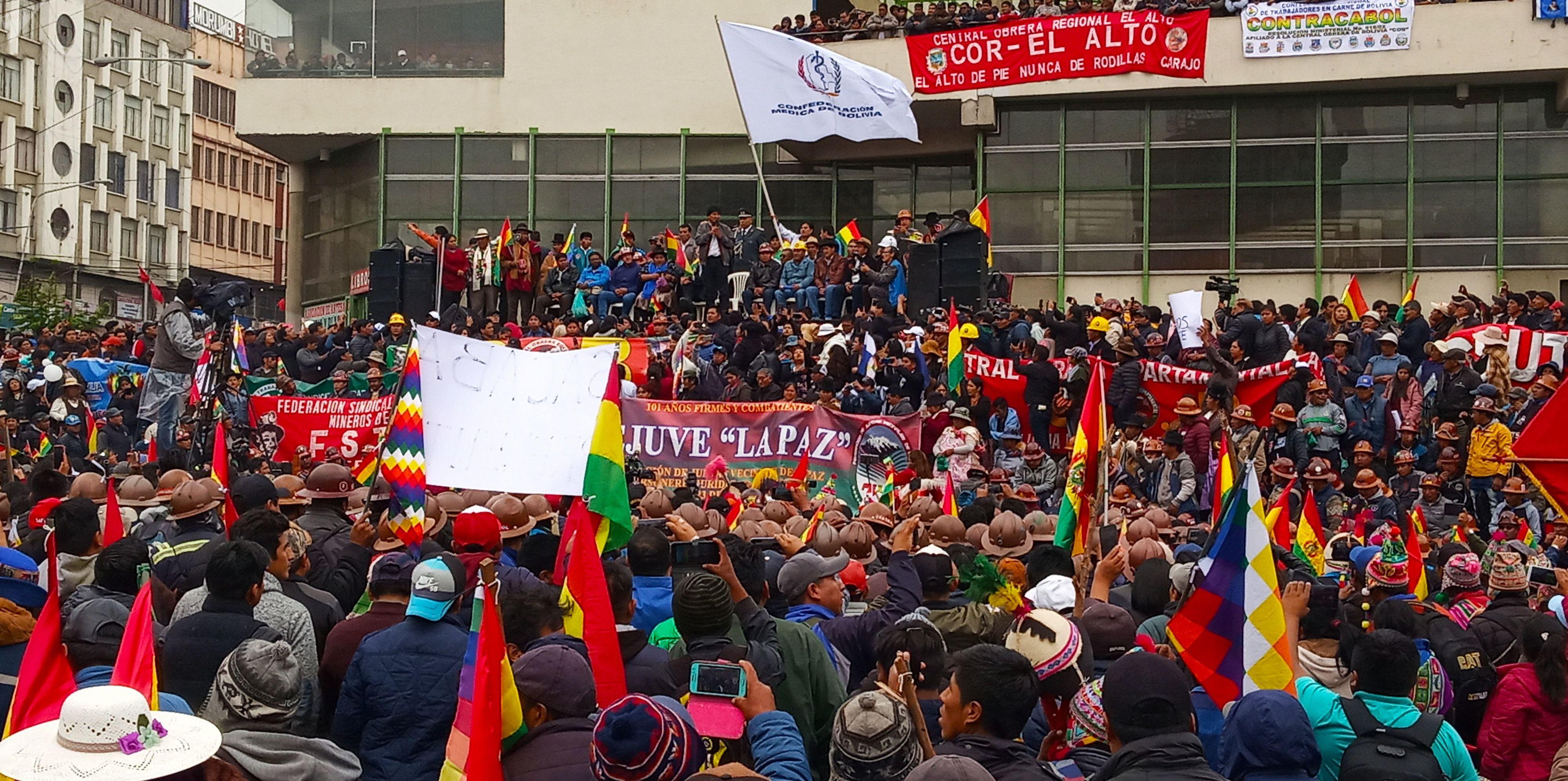 Evo Morales da su discurso en la marcha de la central sindical en Bolivia