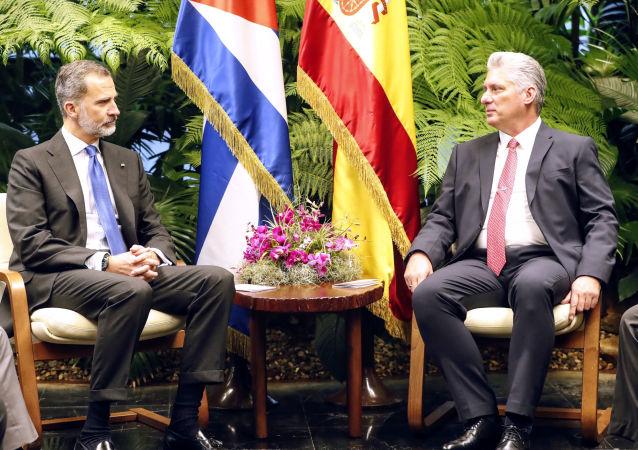 El presidente cubano, Miguel Díaz-Canel, y el rey de España, Felipe VI