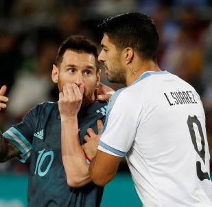 Lionel Messi y Luis Suárez, amistoso Argentina vs. Uruguay