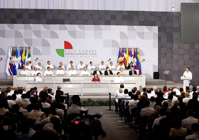 Mexico's President Enrique Pena Nieto delivers a speech during the inauguration of the Ibero-American Summit in Veracruz December 8, 2014.