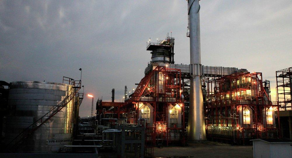 Резервуар для хранения и переработки нефти на заводе Мигель Идальго в мексиканской Туле 21 ноября 2013 года