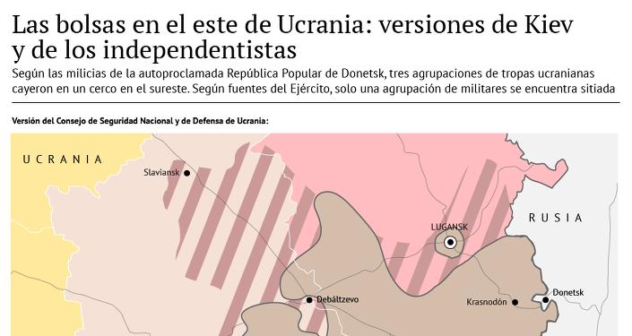 Las bolsas en el este de Ucrania: versiones del Ejército y de los milicianos