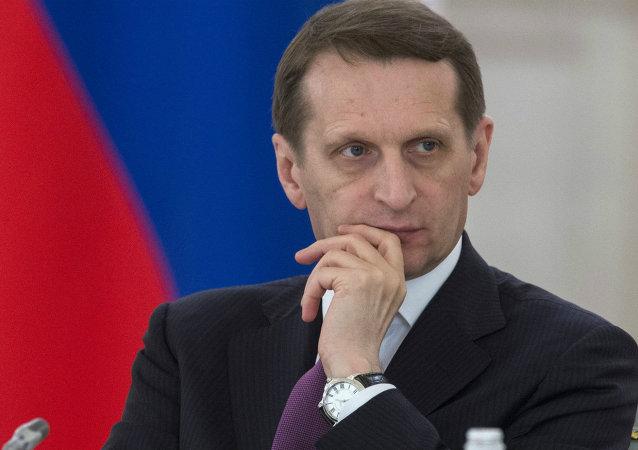Serguéi Narishkin, presidente de la Cámara Baja del Parlamento de Rusia