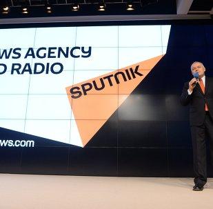 El logo de la agencia Sputnik durante su presentación
