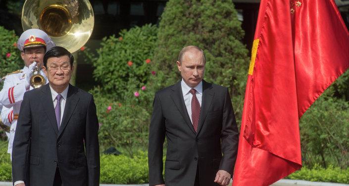 Presidente de Vietnam, Truong Tan Sang y presidente de Rusia, Vladímir Putin (Archivo)