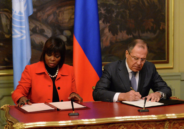 Встреча главы МИД РФ С. Лаврова с директором (ВПП) ООН Эртарин Казин
