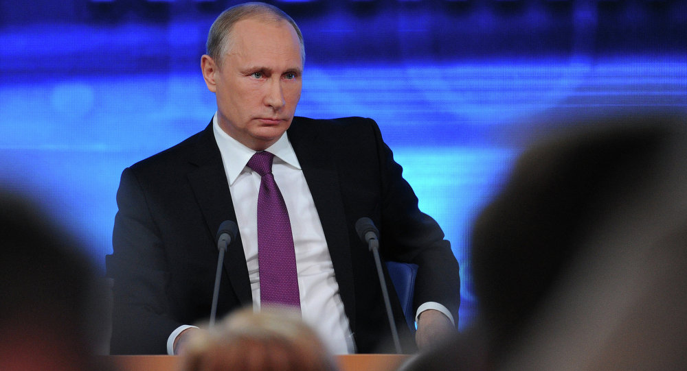 Russian President Vladimir Putin speaks during his annual news conference in Moscow
