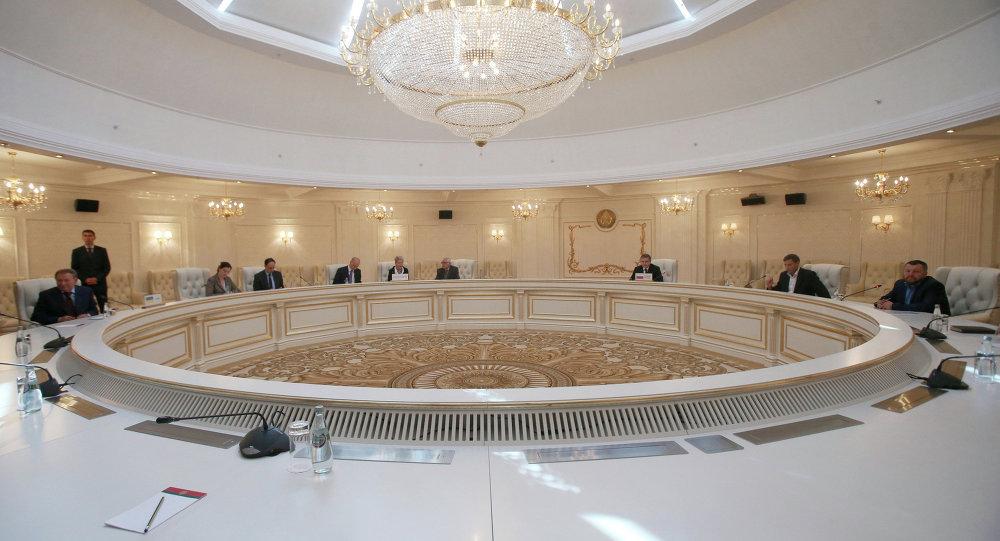 Una reunión del Grupo de Contacto Trilateral en Minsk (archivo)