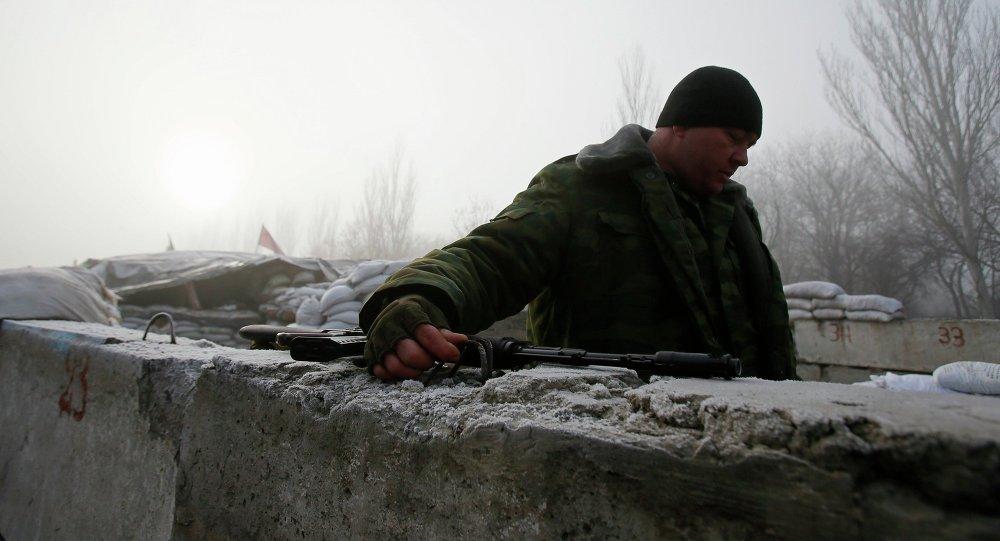 Miliciano en el este de Ucrania