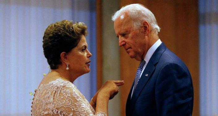 Presidenta de la República de Brasil, Dilma Rousseff y vicepresidente de EEUU, Joe Biden
