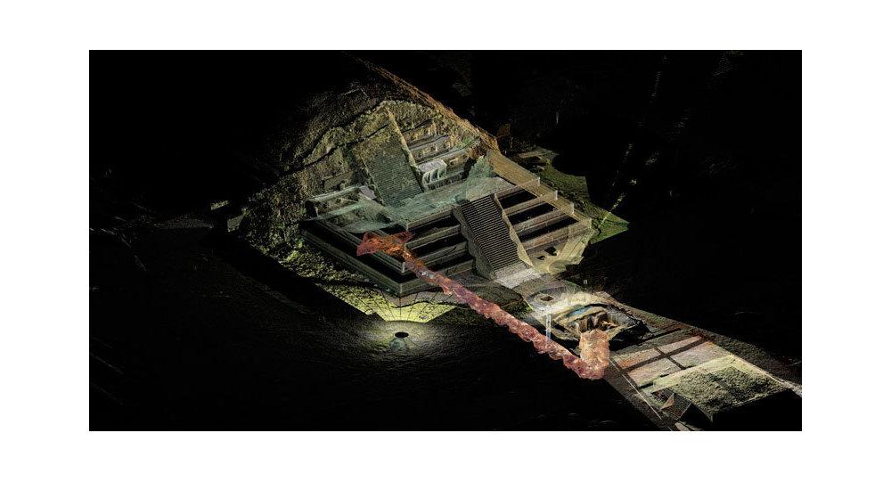Вид на тоннель Serpiente Emplumada, снятый с помощью лазерного сканера