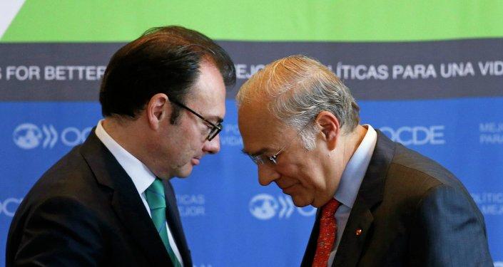 (R - Хосэ Анхель Гурриа Тревиньо, L - Луис Видегарая Касо) Организация экономического сотрудничества и развития (ОЭСР) в Мексике
