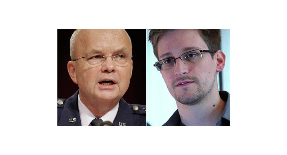 Former head of the US National Security Agency (NSA) and Central Intelligence Agency (CIA), Gen. Michael Hayden, and US intelligence leaker Edward Snowden