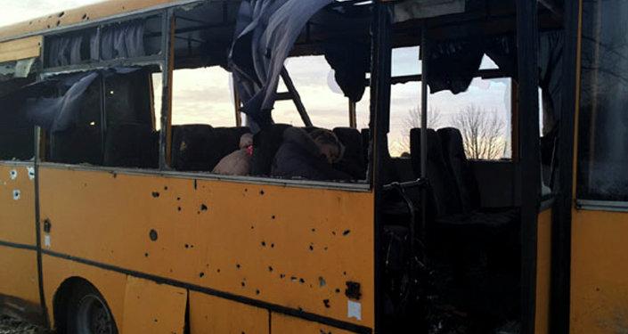 lugar del ataque contra un autobús en Volnavaja