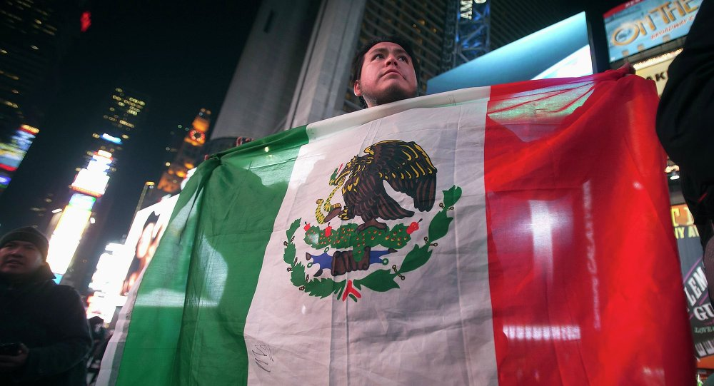 A protester holds a Mexican flag at a demonstration against the Mexican government during U.S. President Barack Obama's speech on immigration reform, in Times Square in New York November 20, 2014.
